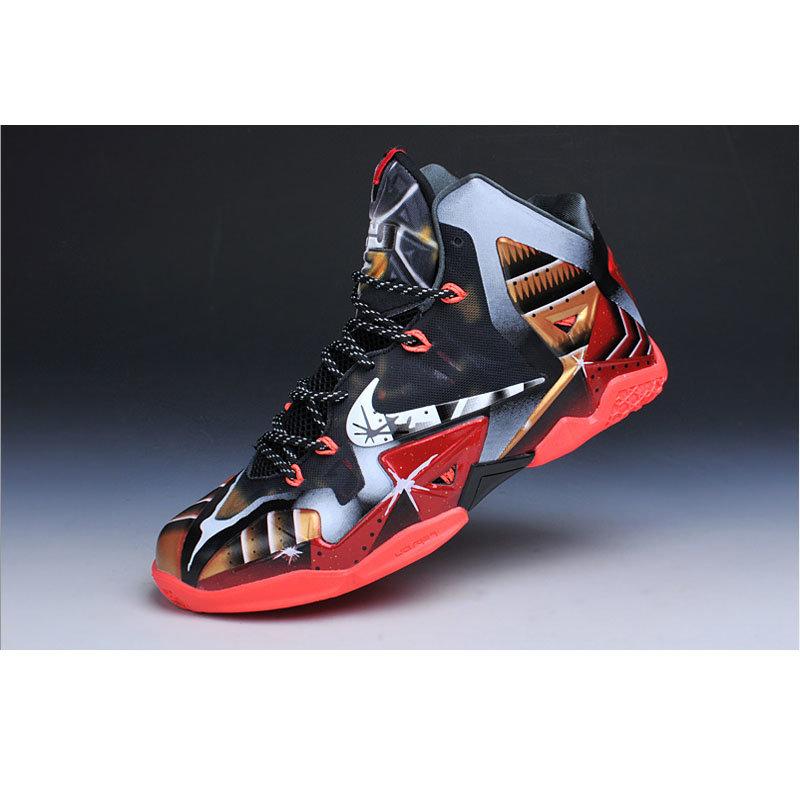 耐克男鞋詹姆斯11代黑红高帮篮球鞋金刚侠nba战靴鞋带
