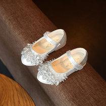 童伊诺 TONGYINUO 2017春季新款女童皮鞋水晶鞋韩版水钻小女孩公主鞋儿童单鞋平底(银色 35码内长约21cm)