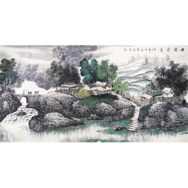 梁冠英 田园诗意> 国画 山水画 水墨写意 钰茗阁主 山