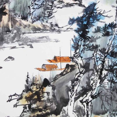 贾少波 溪山遇雨> 国画 山水画 水墨写意 山水 树木 房屋 船 斗方
