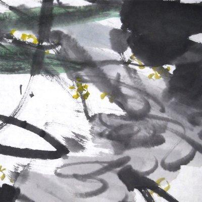 五福临门> 国画 花鸟画 水墨写意 瀚公 古风堂主人 葫芦 鸟 横幅
