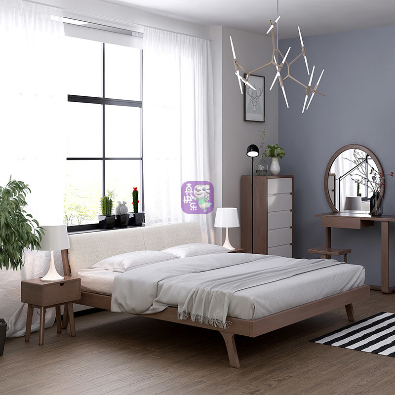 一米色彩 北欧风格 实木双人床(胡桃色 1.8床 床垫)图片