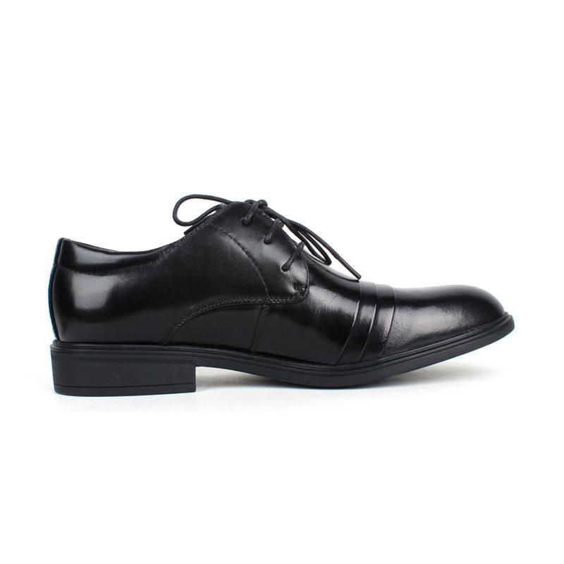 意尔康男鞋经典商务男尖头套脚真皮皮鞋平跟办公室正装单鞋潮93337(浅棕 42)第5张商品大图