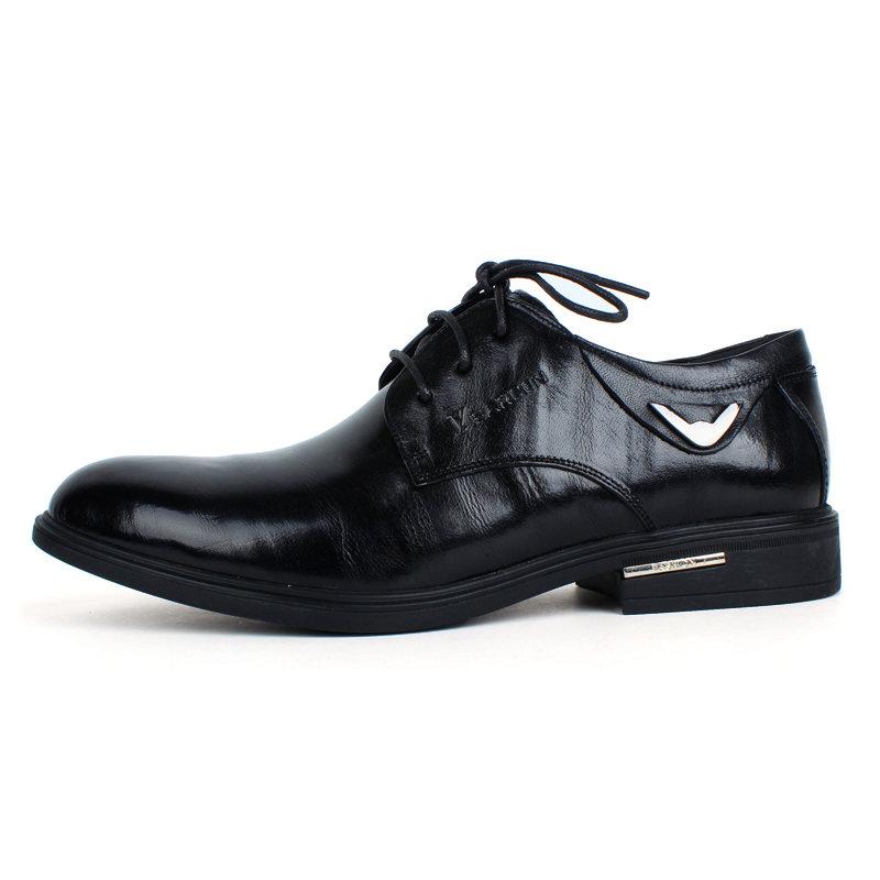 意尔康系带低帮鞋真皮男士商务正装鞋百搭男单鞋皮鞋英伦93339(黑色 42)第4张商品大图