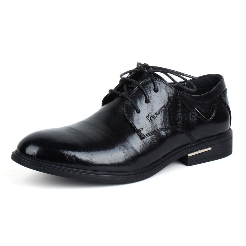 意尔康系带低帮鞋真皮男士商务正装鞋百搭男单鞋皮鞋英伦93339(黑色 42)第2张商品大图