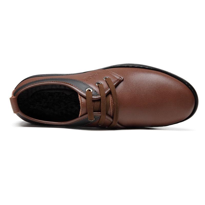 春秋季新款米斯康男鞋商务休闲皮鞋牛皮时尚简约男单鞋2203(棕色)第4张商品大图