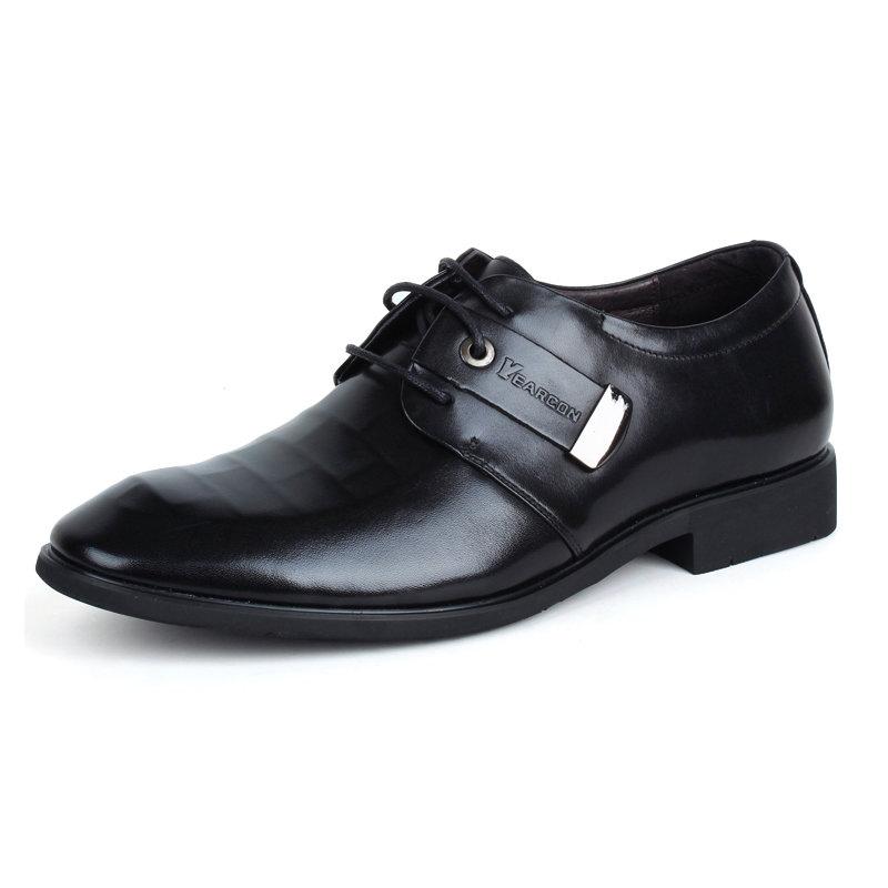 意尔康系带低帮鞋真皮男士商务正装鞋百搭皮鞋英伦男单鞋94626(黑色 38)第2张商品大图