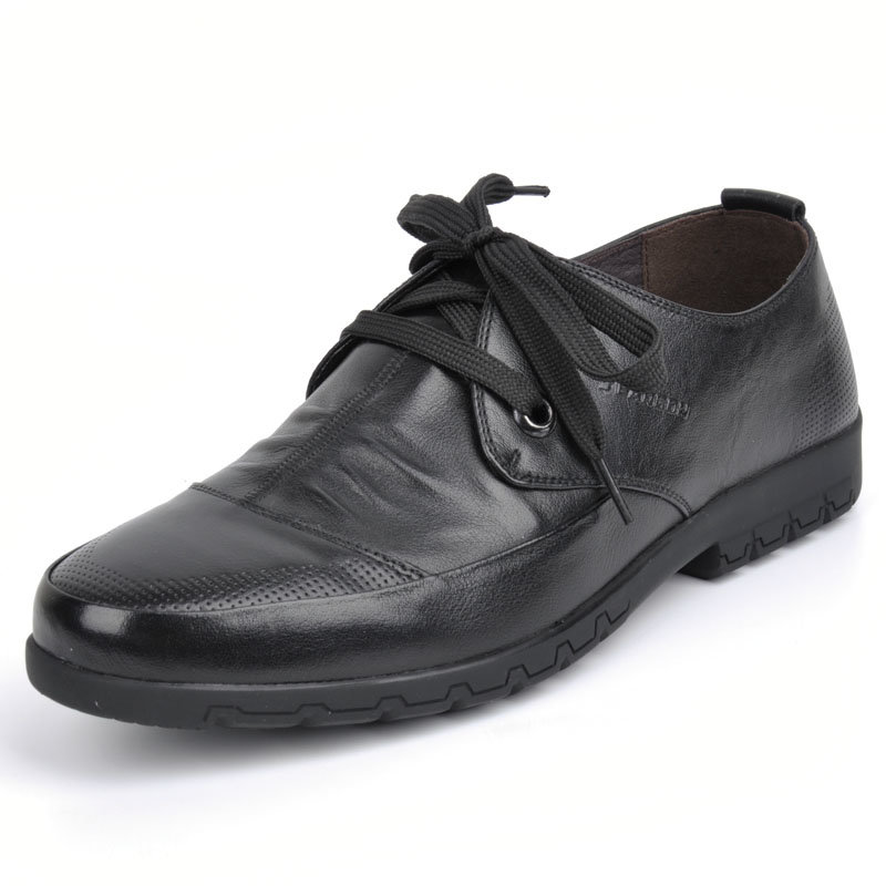 意尔康春秋款男系带低帮单鞋舒适百搭真皮皮鞋韩版商务休闲潮61342(橙红 61342 43)第2张商品大图