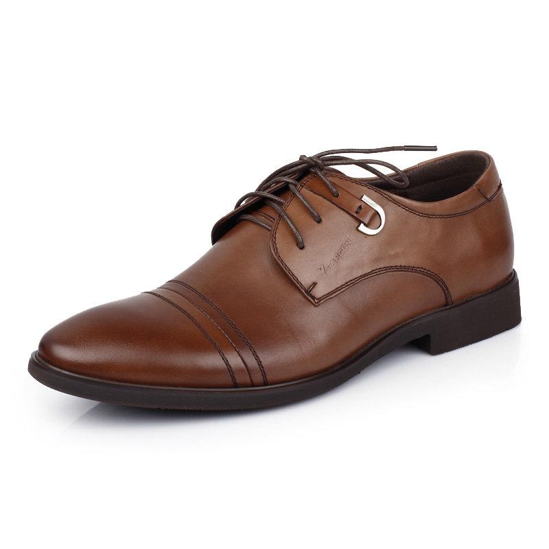 意尔康男鞋时尚英伦商务正装皮鞋男士办公室真皮百搭皮鞋男51301(棕色 51301 38)第2张商品大图